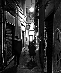 """Urban Night"" (giannipaoloziliani) Tags: blackandwhite black nero noire night street suburbs streetnight streetphoto streetphotography hard strange obscure dark darkness details streetdetails buio genova genoa genoacity city città centre suburbano periferia periphery alleys alleysofgenoa italia italy narrow narrowstreet oscuro scuro closed shops vicoli vicolidigenova walk walking camminando graffiti scritte written muri walls lamps lampioni lights luci ombre shadows nikon nikonphotography nikonphoto people cane dog biancoenero monocromatico monochrome viuzza stradina strada flickr hdr"