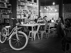 traditional student pub (heinzkren) Tags: fahrrad bike students books bücher lokal pub people youngpeople young gastro gastronomie einrichtung furniture candid coffehouse kaffeehaus bratislava learning restaurant atmosphäre atmosphere stimmung mood communication bnw blackandwhite biancoetnero bw scene location scenelocation fiets vélo bicyclette bicycle bicicletta slovakia pressburg cafe bar slowakei metropol urban mails internet internetkaffee wlan notebook laptop indoor monochrom monochrome rad