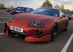 Toyota Supra (Matthew Douglass) Tags: auto red orange motion cars car wheel mobile canon eos japanese movement mod automobile body wheels engine move 7d toyota modified kit modification meet matte mods spoiler supra