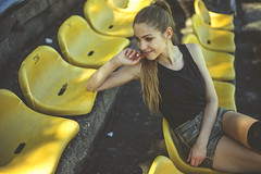 Agata.03 (guzik_) Tags: portrait girl yellow 50mm model nikon stadium seat polish 50mm14 pole ponytail nikkor d610