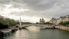 Siene-ic (Peter E. Lee) Tags: bridge summer paris france skyline landscape europe ledefrance cityscape cloudy dusk wide houseboat fr barge sieneriver notredamecathedral 2015 ruedesdeuxponts lasiene