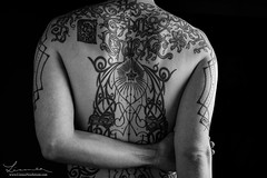 Tattoo Study III (Linnea Nordstrm) Tags: b portrait people blackandwhite bw white black art monochrome tattoo contrast studio person photography grey photo back high artwork shadows arm body background w sharp artsy human shoulder bodyart