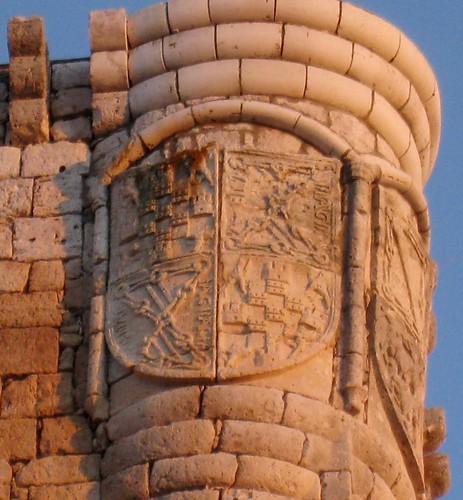 Íscar (Valladolid). Castillo. Escudo de Catalina de Velasco y Mendoza