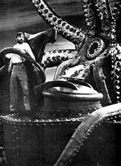 Behind the scenes with Captain Nemo and the giant squid in 20,000 Leagues Under the Sea (1954) (Tom Simpson) Tags: 20000leaguesunderthesea jamesmason captainnemo submarine nautilus giantsquid squid 1954 1950s vintage film behindthescenes