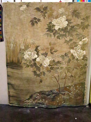 LINEN:  Japanese Meiji era silk wall hanging