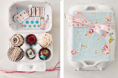 Egg Carton Sewing Kit (Heath & the B.L.T. boys) Tags: diy sewing eggcarton floral buttons