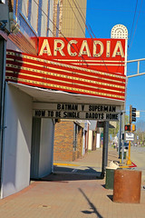 Arcadia Theatre, Olney, IL (Robby Virus) Tags: olney illinois il marquee arcadia theatre theater cinema movies redmans lodge fraternal organization neon sign signage bulbs