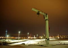 Night Crane (STTH64) Tags: crane boats harbour winter snow ice dark evening night lights sea seaside sky vaasa finland