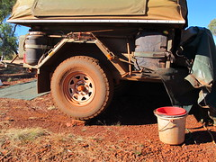 attempt at levelling the trailer (spelio) Tags: karijini national park np wa western australia map 2011 ace travel trip camp campsite camping offroad remote bfg buckets gear wheel tyre location approx
