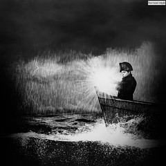 My kingdom awaits (Álvaro Hurtado) Tags: d3100 nikon sigma creative creativa conceptual hombre man abrigo sombrero hat bicornio bicorne cockedhat coat barca boat smallboat rowboat niebla fog mar sea agua water tormenta storm lluvia rain nubes clouds rayo lightning farol lantern lamp brújula compass viaje journey quest soledad loneliness solitude luz light oscuridad darkness oscuro dark blancoynegro blackandwhite bw fineart fine retrato portrait autorretrato selfportrait manipulation composition photoshop art