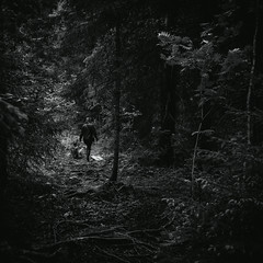 Grimm trip (side rocks) Tags: wild blackandwhite bw woman nature monochrome fairytale forest finland dark landscape person scary woods darkness grim path fear creepy spooky story gloom nordic wilderness finnish scandinavia tampere pathway darkforest grimm pirkanmaa finnishnature darkfairytale