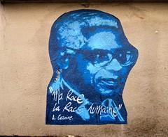 """My race. Human race"" [Aimé Césaire] - Street art in Paris 4th (Sokleine) Tags: street streetart paris france pasteup collage graffiti grafitti message politics urbanart rue 75004 marais artderue aimécésaire"