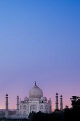 Taj Mahal Sunset (Greg - AdventuresofaGoodMan.com) Tags: pink blue trees sunset sky india building green love tourism monument skyline architecture temple cityscape purple indian famous taj mahal tajmahal agra landmark icon mausoleum iconic famousplaces