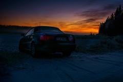 sunset (salas-3) Tags: sunset evening landscape winter snow cold nature sky colors beautiful car audi cabriolet frozen forest fields trees