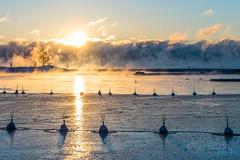 Smoke on the water in Helsinki, Jan 5th (Czzz) Tags: seasmoke sea finland helsinki mist winter sky sun sunrise snow ice cold freezing water clouds