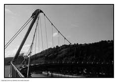 Shapes (Spotmatix) Tags: brussels streetphotography vignette architecture bridge effects film germany landscape monochrome places polypanf recent river water