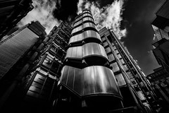 Lloyd's Building in London (justinclayton99) Tags: building insurance london blackandwhite monochrome architecture fuji fujifilm xt1 steel metal reflection cloud sky lloyds richard rogers