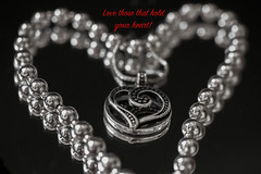 """From the Heart- """"Caring""""  ODC (Exdeltalady) Tags: valentines heart happyvalentinesday love blackandwhite romance hugs kisses necklace macro odc caring"""