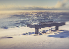 Winter Bench - HBM! (jm atkinson) Tags: bench monday pemaquid point maine snow sea smoke atlantic peninsula