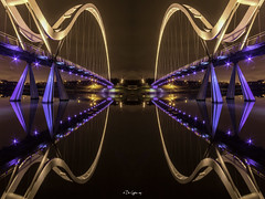 2 Infinity and Beyond! [Explored] (Dave Cappleman - inspired by your work!) Tags: infinitybridge stocktonontees tees bridge infinity reflections colours lights night