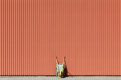Vivisection (Eric Dufour photographies) Tags: facade red vivisection wall urban minimalism minimalist graphics graphism wheelbarrow urbanities architecture building