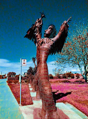 The Summoning (Steve Taylor (Photography)) Tags: witch busstop cabbagetree art digital sculpture park blue brown red spooky eerie odd strange weird metal newzealand nz southisland canterbury christchurch tree wrapped rattle summon