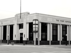 The First National Bank and Trust in Chickasha, Oklahoma (kevinellison62) Tags: blackwhite architecture artdeco building oldbuilding clocks clock time chickasha oklahoma firstnationalbankandtrust bank