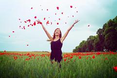 (j-kane) Tags: flowers red portrait sky woman black flower green nature girl smile face field mouth hair outside flying eyes dress wind joy seed happiness pole poppy poppies blonde dziewczyna