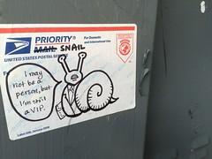 Priority Snail (MaxTheMightyy) Tags: streetart art graffiti washingtondc dc washington sticker paint destruction label tag stickers tags spray vandal vandalism labels spraypaint usps tagging blight 228 vandals prioritymail slaps aup dcgraffiti dcstreetart artunderpressure prioritysnail