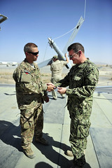 U.S. Navy Rear Adm. Luke McCollum, vice commander, U.S. Naval Forces Central Command, visits ScanEagle Guardian Eight Site at Kandahar Airfield June 25, 2015