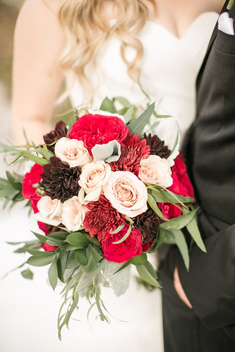 """Chocolate Dahlias & Darcy Garden Roses • <a style=""""font-size:0.8em;"""" href=""""http://www.flickr.com/photos/81396050@N06/31213662964/"""" target=""""_blank"""">View on Flickr</a>"""