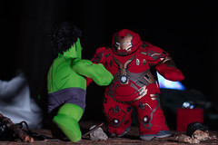HulkBuster vs Hulk (Lens a Lot) Tags: raw picture made for marvel poupluche advertising campaign paris | 2016 asahi optco smc takumar blades iris m42 comic toy dc bokeh depth field color green vintage manual japanese japan fixed length prime classic lens supertakumar 105mm f28 1962 6 f4 hulkbuster vs hulk avengers figurine armure