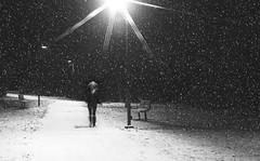 I'm Runnin' With The Shadows Of The Night (Malena †) Tags: selfportrait bw longexposure nightscene winter snow 2017 selfie lyrics nightfall