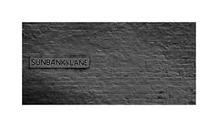Sunbank lane (CJS*64) Tags: dslr d7000 nikon nikkorlens nikkor nikond7000 18mm105mmlens blackwhite bw blackandwhite whiteblack whiteandblack cjs64 craigsunter cjs street name sign white wall
