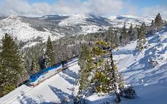 Amtrak 5 and The Bear River Valley (Jake Miille) Tags: amtrak californiazephyr trains railroad passengertrain superliner travelbytrain snow winter scenic emigrantgapcalifornia donnerpass donnerpassroute bearrivervalley uprosevillesubdivision sierranevadamountains mountainrailroading