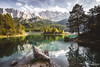 Eibsee and Zugspitze (Steffen Walther) Tags: fotografjena steffenwalther alpen alps hiking trekking wandern bavaria lake emerald bayern germany canon5dmarkiii canon1740l reisefotolust landscape travel trees mountains summit clouds island canon vsco rocks colorful autumn forest