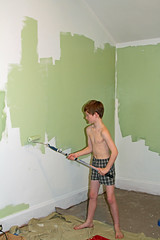 Painter's Helper (babyfella2007) Tags: jason taylor painting house carson grant green room roller brush ladder child young boy helping beard face winnsboro sc south carolina southern children work working color