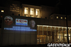 Exxon Projected at State Dept (Greenpeace USA 2016) Tags: trump donald president campaign unitedstates politics climatechange climate denier rextillerson exxon senate secretaryofstate building projection washington dc usa