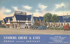 Sanders Court & Cafe - Corbin, Kentucky (The Cardboard America Archives) Tags: vintage motel postcard colonelsanders kentucky northcarolina xmarksthespot