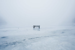 Heart Lake (Ernie Kwong Photography) Tags: itscoldoutside ipulledoverforthis winterwonderland frozen lake heartlake conservation landscape ice bench fineart ontario blackandwhite canada winter lascape winterlandscape moody minimalism simple serene