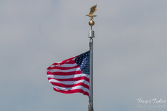 Old Glory flies proudly over the site