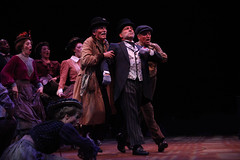 Stephen Berger as Alfred P. Doolittle and the cast in My Fair Lady, produced by Music Circus at the Wells Fargo Pavilion June 9-14, 2015. Photos by Charr Crail.