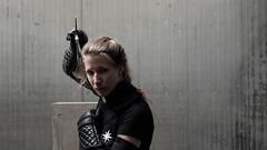 Noorderwind (Cdric Hauteville) Tags: portrait people canon fuji flashphotography weapon sword shield 169 plusx pocketwizard stuntperformer xt1 600exrt xf35mmf14r