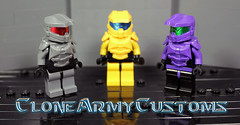 Orbital StarCraft Anyone? (CloneArmyCustoms) Tags: blue red 2 3 black green yellow dark star 1 miniature purple lego fig 5 metallic chief 4 helmet gray craft halo mini master human chef armor figure reach minifig figures visor figs cheif minifigure terran bluish zerg protoss odst