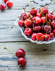 fresh red cherry in a plate,healthy snack, summer, selective focus (harmonyandtaste) Tags: wood red summer food color tree nature closeup fruit garden cherry table dessert wooden leaf juicy healthy berry cherries raw natural sweet background rustic group tasty bowl fresh health snack vegetarian growing organic diet agriculture freshness ripe nutrition selectivefocus vitamin sweetcherriesvegan