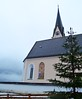 church in fog (ekelly80) Tags: germany bavaria december2016 kreuth snow winter church fog pink steeple tower fence mountains alps clouds clocktower town