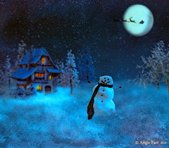 """He's BEHIND YOU ""... (rubyblossom.) Tags: rubystreasurechallenge70 snow premade background santa reindeer moon sky cottage lights snowman scarf rubyblossom2016"