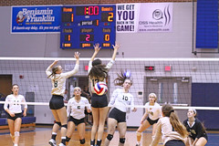 IMG_8114 (SJH Foto) Tags: girls volleyball high school york delone catholic team teen teenager net battle spike block action shot jump midair