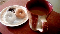 Coffee and donuts! (Maenette1) Tags: coffee mug donuts plate morning menominee uppermichigan flickr365 52weeksofphotographyweek9