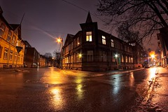 House On The Corner (k009034) Tags: 500px wooden copy space estonia tallinn tranquil scene architecture building buildings city corner lamp post lights night no people old sky street travel destinations trees wet windows teamcanon